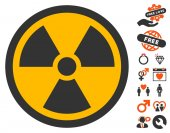 Radioactive pictograph with bonus marriage clip art Vector illustration style is flat iconic symbols for web design app user interfaces
