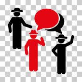 Gentlemen Discussion icon Vector illustration style is flat iconic bicolor symbol intensive red and black colors transparent background Designed for web and software interfaces