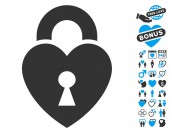 Heart Lock pictograph with bonus passion clip art Vector illustration style is flat iconic blue and gray symbols on white background