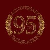 95th anniversary celebration vintage patterned logo symbol Golden circular ornate emblem on red