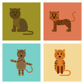 Assembly of flat icons nature cartoon panther tiger leopard