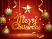 Merry Christmas words hanging with golden baubles 3d illustration and sparkling red background