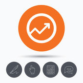 Growing graph icon. Business analytics chart symbol. Speech bubbles. Pen, hand click and chart. Orange circle button with icon. Vector