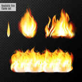Realistic fire flames set Real transparency effects Vector