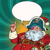 Santa Claus pirate pointing gestures Pop art retro vector illustration New year and Christmas