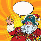 Santa Claus pirate OK gesture Pop art retro vector illustration New year and Christmas