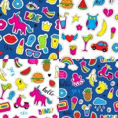 Set of seamless vector patterns with bright fashion patch badges Hand drawn funny stickers Modern doodle pop art sketch and inscriptions Cute pins and icons in cartoon 80s-90s comic style