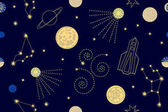 Abstract vector background with space ships and planets