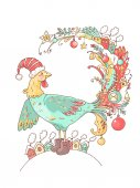 2017 Happy New Year greeting card Celebration background with Rooster