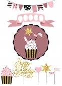 Celebratory cake with set of decoration toppers candles and garlands with flags Vector hand drawn illustration scandinavian style in pink colors with gold glittering elements
