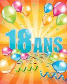 French birthday card 18 years full vector elements