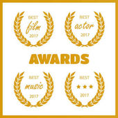 Set of awards for best Film award wreaths isolated on the white background