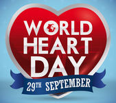 Poster with shiny heart shape with greeting text and reminder date in blue ribbon for World Heart Day in September 29