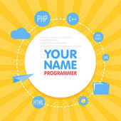 Social network programmer avatar Place for your name Template of the developer portfolio banners announcements web sites and other projects Vector illustration