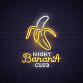 Banana neon sign bright signboard light banner Night club logo emblem