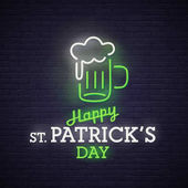 Beer neon sign bright signboard light banner Beer logo emblem Theme St Patrick's Day