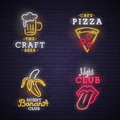 Set neon sign Neon sign bright signboard light banner