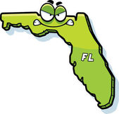 A cartoon illustration of the state of Florida looking angry