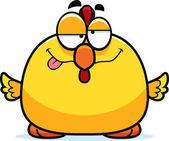 A cartoon illustration of a chicken looking drunk