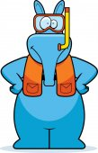 A cartoon illustration of an aardvark wearing snorkeling gear