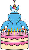 A cartoon illustration of an aardvark with a birthday cake