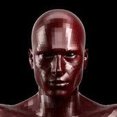 3D vykreslování. Přívěsek červené robota tvář s černýma očima přihlížel přední fotoaparát