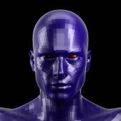 3D vykreslování. Přívěsek modrý robot tvář s rudýma očima přihlížel přední fotoaparát