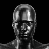 3D vykreslování. Přívěsek černý robot tvář s černýma očima přihlížel přední fotoaparát