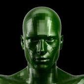 3D-leképezést. Csiszolt zöld robot arca, zöld szeme nézett elülső kamera
