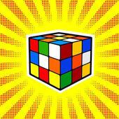 Rubik Cube comic book pop art retro style vector illustratoin