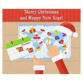 Christmas card Santa Claus is planning to send gifts World map on a wooden table Flat vector cartoon christmas card Objects isolated on a white background