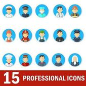 Icons male professions Business man industry and services law-enforcement and judge chef and fireman Templates without emotion for infographic sites banners social networks Flat vector icons