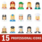Icons female professions Business man industry and services law-enforcement and judge Templates with friendly happy faces for infographic sites banners social networks Flat vector icons
