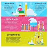 Banners with equipment for scientific laboratories Education and research scientific experiments Flat vector cartoon illustration Objects isolated on a white background