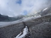 Climbing rocky route to the grossglockner mountain