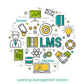 Vector Round Concept of Learning Management System - LMS Line Art Infographic on white background