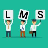 Vector flat three happy businessmen with LMS letters One with tablet other with briefcase and with student cap on green square background Concept of Learning Management System
