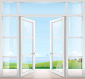 Door with window to the terrace overlooking the sea and a beautiful landscape Clear glass Vector graphics