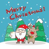 Merry christmas day happy Santa Claus and reindeer take a selfie great for your design