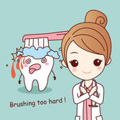 Cartoon woman with tooth brushing