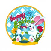 A white Easter bunny rabbit holds a large Easter colored egg with a pattern of daisies. Glade with flowers and grass. Greeting card. Funny character.