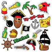 Pirates Badges Patches Stickers - Ship Crossbones and Skeleton in Pop Art Comic Style for Fabric Textile Vector illustration