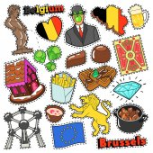 Belgium Travel Scrapbook Stickers Patches Badges for Prints with Fries Chocolate and Belgian Elements Comic Style Vector Doodle