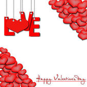 Happy Valentine's Day Red inscription love and heart hanging on a ropes on a white background Background of the different sizes hearts at the corners Vector illustration