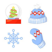 Christmas Icon Set Collection Vector cartoon New year traditional symbols collection Christmas and New Year icons and objects Hats mittens snowflakes vector clip art