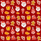Seamless pattern with cute cartoon Christmas mittens candy cane holly berries smiling snowman and red stocking with xmas tree New year traditional symbols icons objects Vector clip art