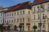 Old houses in Town square near medieval castle in Banska Bystrica.