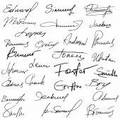 Signatures set fictitious contract signatures business autograph illustration
