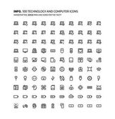 Technology and computers mini line illustrations icons backgrounds and graphics The icons pack is black and white flat vector pixel perfect minimal suitable for web and print