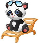 Vector illustration of Cartoon panda bear sitting on deck chair isolated on white background